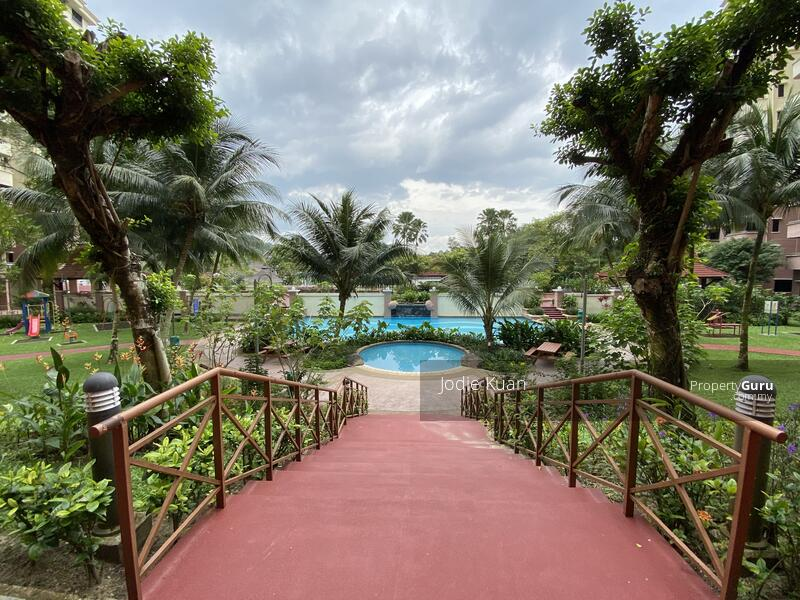 Swimming Pool surrounded with beautiful landscape.