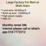 Large Factory For Rent at Shah Alam