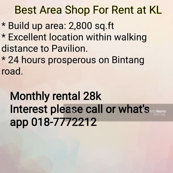 Retail Shop Ground Floor For Rent at KL #140779162