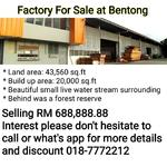 Factory For Sale at Bentong