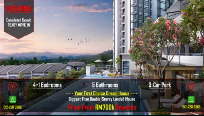 For Sale - Puchong Completed 5rooms 5bathrooms Lake Condo Hoc Package Ready Move In